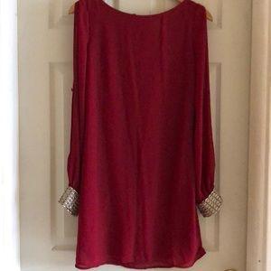 Francesca's Long Sleeve Red Dress